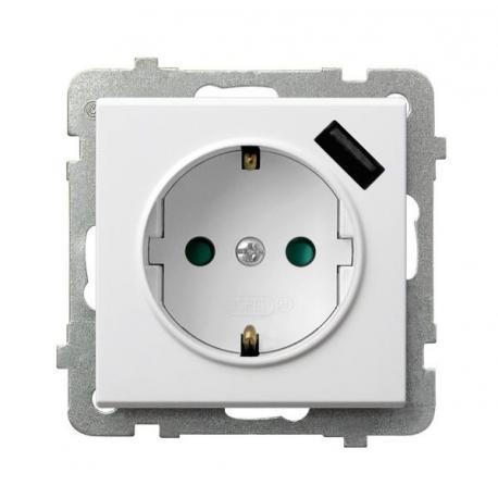 SONATA Gniazdo pojedyncze z uziemieniem schuko z przesłonami torów prądowych, z ładowarką USB GP-1RSPUSB/m/00 BIAŁY
