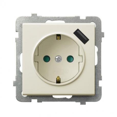 SONATA Gniazdo pojedyncze z uziemieniem schuko z przesłonami torów prądowych, z ładowarką USB GP-1RSPUSB/m/27 ECRU