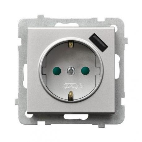 SONATA Gniazdo pojedyncze z uziemieniem schuko z przesłonami torów prądowych, z ładowarką USB GP-1RSPUSB/m/38 SREBRO MAT