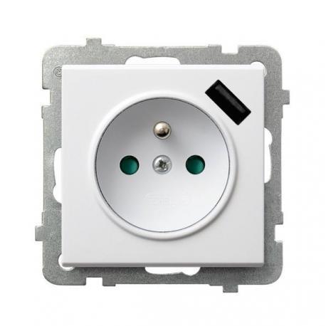 SONATA Gniazdo pojedyncze z uziemieniem z przesłonami torów prądowych, z ładowarką USB GP-1RZPUSB/m/00 BIAŁY