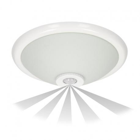 Orno TERRAL, plafon oświetleniowy z czujnikiem ruchu 360st, 2x40W, E27, IP20, szkło matowe