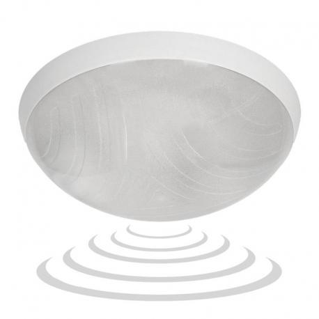 Orno HELM, plafon oświetleniowy z mikrofalowym czujnikiem ruchu, 75W, E27, IP44, IK10, klosz poliwęglan przeźroczysty