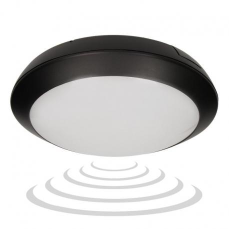 Orno PASAT LED, plafon z mikrofalowym czujnikiem ruchu, 20W, 1400lm, IP66, 4000K, poliwęglan mleczny, czarny
