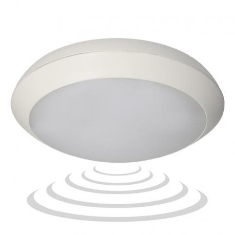 Orno PASAT LED, plafon z mikrofalowym czujnikiem ruchu, 20W, 1400lm, IP66, 4000K, poliwęglan mleczny, biały