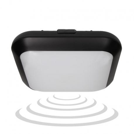 Orno MONSUN LED, plafon z mikrofalowym czujnikiem ruchu, 15W, 1050lm, IP66, 4000K, poliwęglan mleczny, czarny