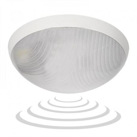 Orno HELM LED, plafon z mikrofalowym czujnikiem ruchu, 12W, 1150lm, 4000K, IP44, poliwęglan przeźroczysty, biały