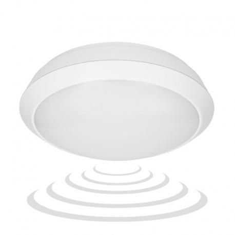 Orno BRYZA ECO LED, plafon z mikrofalowym czujnikiem ruchu, 12W, 900lm, IP66, 4000K, poliwęglan mleczny, biały
