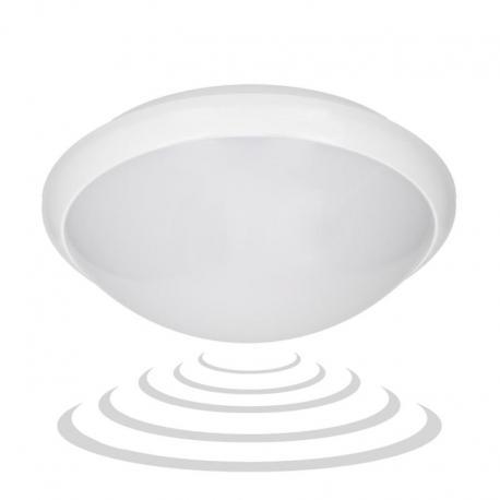Orno BREVA LED, plafon z mikrofalowym czujnikiem ruchu, 16W, 1200lm, IP54, poliwęglan mleczny, biały