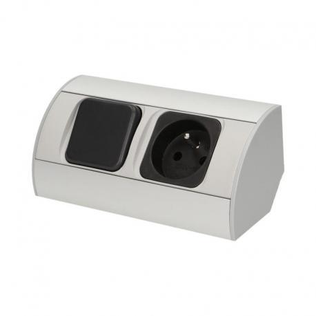 Orno Zestaw 5 opraw meblowych LED z wyłącznikiem ON/OFF, gniazdo 2P+Z, przewód 3x1,5mm2 - 0,5m