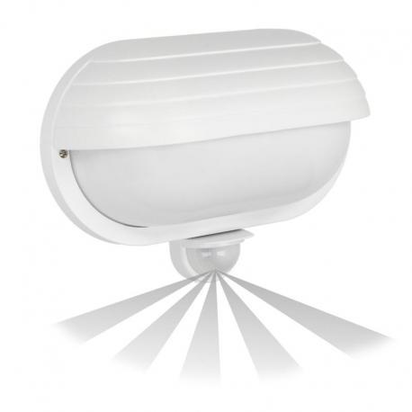 Orno SAMUM, oprawa z czujnikiem ruchu, 180st, z przesłoną, 1x60W, E27, IP44, plastik, biała