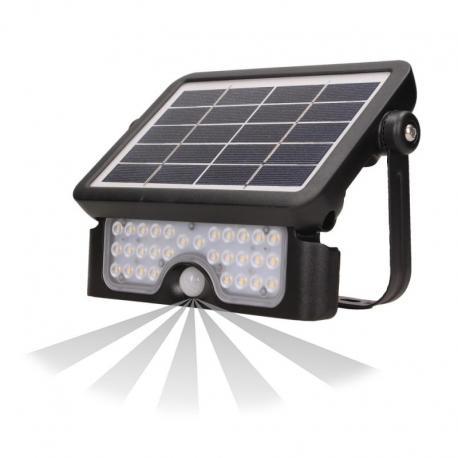 Orno LUX LED, naświetlacz solarny z czujnikiem ruchu 5W, 500lm, 2x1500mAh, IP65, czarny