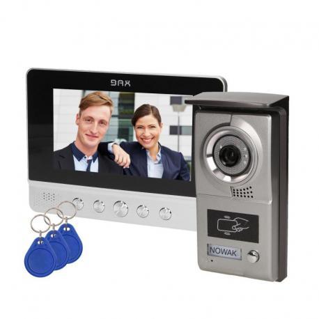 """Orno Zestaw wideodomofonowy, bezsłuchawkowy, kolor, 7"""" LCD, z czytnikiem breloków zbliżeniowych, srebrny CHARON"""