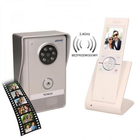 """Orno Zestaw wideodomofonowy, bezprzewodowy, zasięg 150m, kolor, LCD 2,4"""", pamięć, natynkowy, IP55, SEMIS MEMO"""