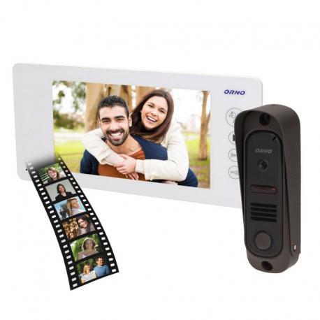 """Orno Zestaw wideodomofonowy bezsłuchawkowy, kolor, LCD 7"""", pin hole, pamięć, biały, ARCUS MEMO"""
