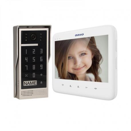 """Orno Zestaw wideodomofonowy bezsłuchawkowy, kolor, LCD 7"""", z szyfratorem, natynkowy, biały, DICO"""