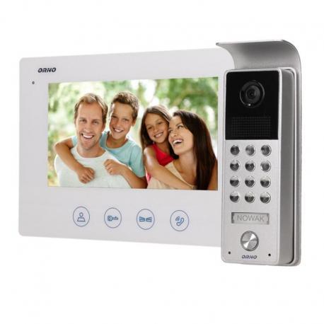 """Orno Zestaw wideodomofonowy bezsłuchawkowy, kolor, LCD 7"""", z szyfratorem, natynkowy, biały, CERES"""