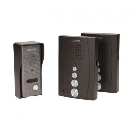 Orno Zestaw domofonowy jednorodzinny z interkomem, bezsłuchawkowy, czarny ELUVIO INTERCOM
