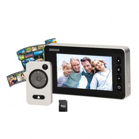 """Orno Elektroniczny wizjer do drzwi 4,7"""" z funkcją nagrywania na kartę Micro SD, czujnikiem ruchu i menu w 9 językach, bateryjny"""