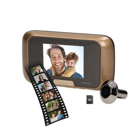 """Orno Elektroniczny wizjer do drzwi 3,2"""" z funkcją nagrywania na kartę Micro SD, bateryjny"""