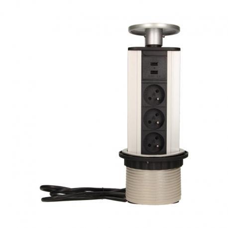 Orno Gniazdo meblowe ?10cm wysuwane z blatu z ładowarką USB i przewodem 1,8m, 3x2P+Z, 2xUSB