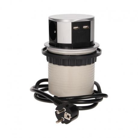 Orno Gniazdo meblowe ?10cm wysuwane z blatu z ładowarką USB i przewodem 1,5m, 3x2P+Z, 2xUSB