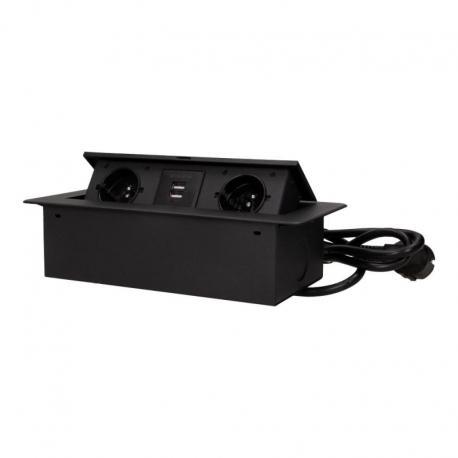 Orno Gniazda wpuszczane w blat z płaskim frezowanym rantem, ładowarką USB i przewodem 1,5m, 2x2P+Z, 2xUSB, czarne