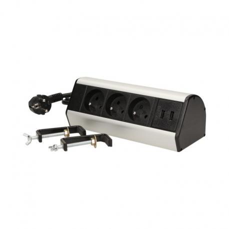 Orno Gniazdo meblowe z zaciskami śrubowymi, ładowarką USB i przewodem 1,8m, 3x2P+Z, 2xUSB