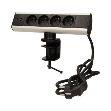 Orno Gniazdo meblowe z uchwytem montażowym, ładowarką USB i przewodem 1,8m, 4x2P+Z, 2xUSB