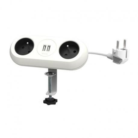 Orno Gniazdo meblowe z uchwytem montażowym, ładowarką USB, 2 gniazda 2P+Z, 2xUSB, przewód 3x1,5mm2 - 1,5m, białe