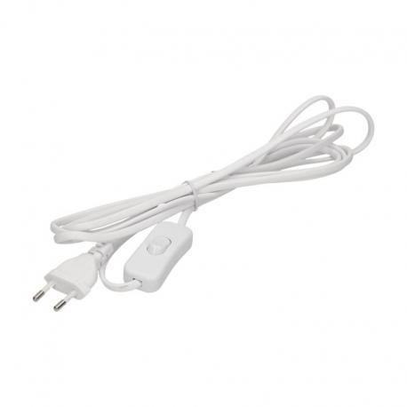 Orno Przewód zasilający z wyłącznikiem on/off i płaską wtyczką, przewód 3m, biały