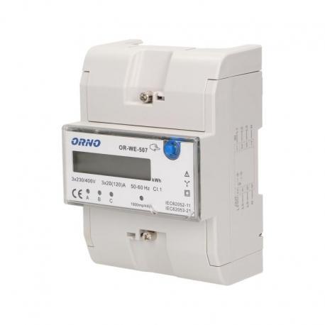 Orno 3-fazowy wskaźnik energii elektrycznej, 120A, 5 modułów, DIN TH-35mm, dodatkowy przycisk