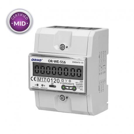 Orno 3-fazowy licznik energii elektrycznej, 80A, port RS-485, MID, 3 moduły, DIN TH-35mm