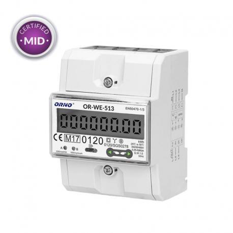 Orno 3-fazowy licznik energii elektrycznej, 80A, MID, 3 moduły, DIN TH-35mm OR-WE-513