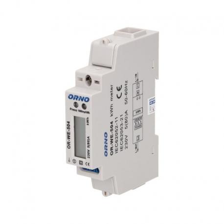 Orno 1-fazowy wskaźnik zużycia energii elektrycznej, 80A, port RS-485, 1 moduł, DIN TH-35mm