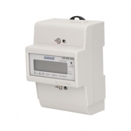 Orno 1-fazowy wskaźnik zużycia energii elektrycznej, 80A, 3 moduły, DIN TH-35mm