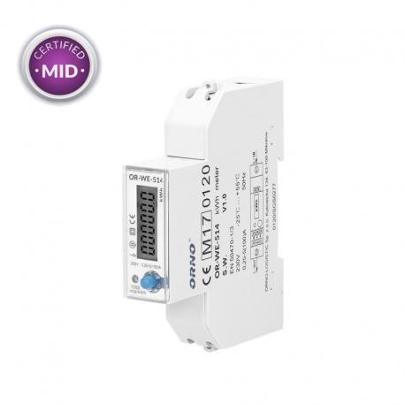Orno 1-fazowy licznik energii elektrycznej, 100A, port RS-485, MID, 1 moduł, DIN TH-35mm