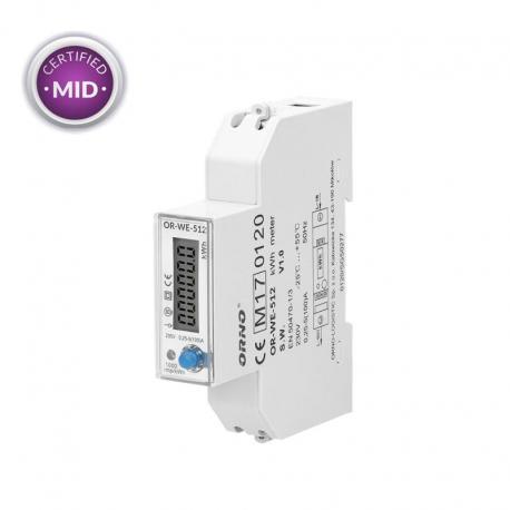 Orno 1-fazowy licznik energii elektrycznej, 100A, MID, 1 moduł, DIN TH-35mm