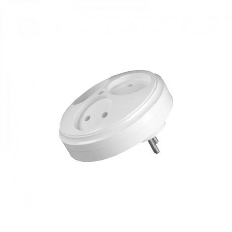 Orno Rozgałęźnik z podświetleniem 3 gn okrągłe biały