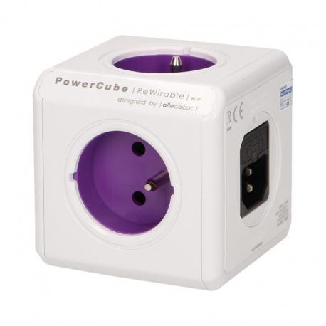 Orno Rozgałęźnik PowerCube z 4-krotnym gniazdem E/FR i 2xUSB 5V + 4 wtyczki (ReWirable USB), fioletowy