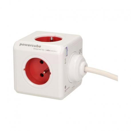 Orno Przedłużacz PowerCube EXTENDED z 5xE/FR, przewód 1,5m, czerwony