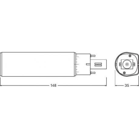Tuba LED OSRAM DULUX® D LED EM & AC MAINS 13 5 W/3000K G24d-1