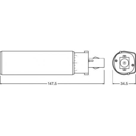 Tuba LED OSRAM DULUX® D LED EM & AC MAINS 18 7 W/3000K G24d-2