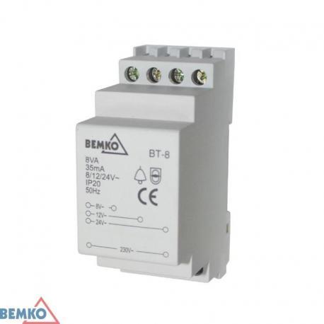 Bemko Transformator Dzwonkowy Bt08 230V/8V,12V,24V Ac