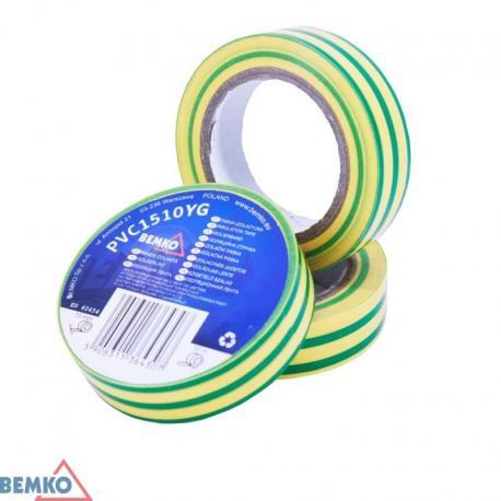 Bemko Taśma Izolacyjna 15X10M Zółto-Zielona/Yellow-Green