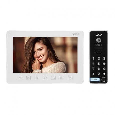"""Orno Zestaw wideodomofonowy, bezsłuchawkowy, kolor, LCD 7"""", menu OSD, sterowanie bramą, z szyfratorem i RFID, biały, ALCOR"""