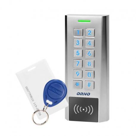 Orno Zamek szyfrowy wąski z czytnikiem kart i breloków zbliżeniowych, IP66 , 2 przekaźniki 2A, wymiary 134x55,5x21