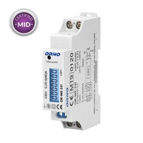 Orno 1-fazowy licznik energii elektrycznej, 40A, MID, wyjście impulsowe, podświetlenie, 1 moduł, DIN TH-35mm