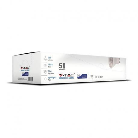 Żarówka LED V-TAC VT-275 Samsung Chip 5W GU10 3000K 380lm A+ 38° 12szt.