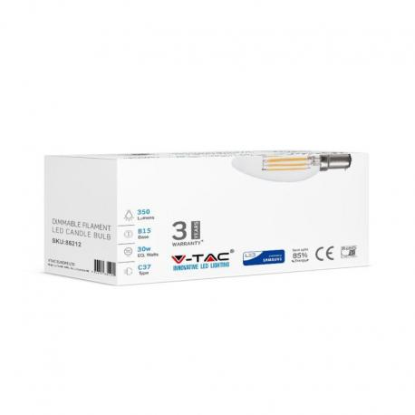Żarówka LED V-TAC VT-284D 4W B15 Candle 3000K 350lm A+ 300° 12szt.