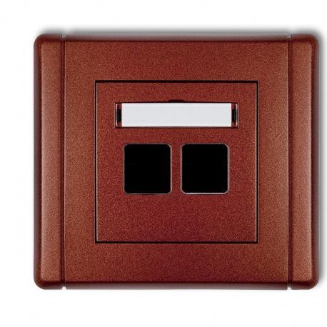 Karlik FLEXI Gniazdo multimedialne podwójne bez modułu (standard Keystone) brązowy metalik 9FGM-2P